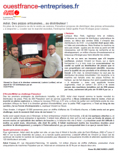 Ouest France juin 2015 - Article ADIAL PIZZADOOR