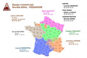 Zones commerciaux PIZZADOOR - Carte de France - octobre 2017